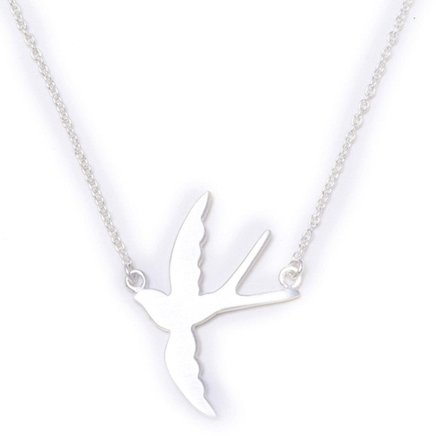 Thin Rolo Chain with Matte Flying Bird Pendant Necklace