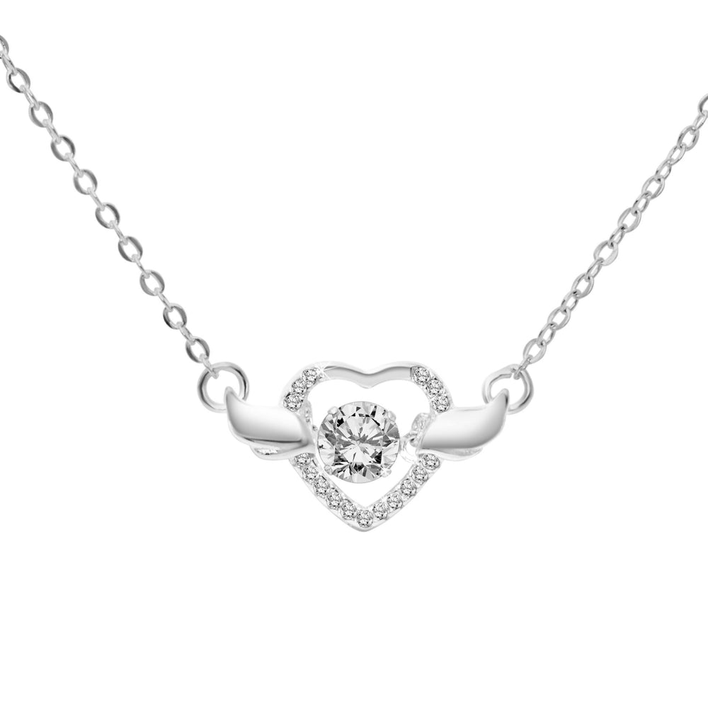 Hermie Dancing Gem Winged Heart Necklace