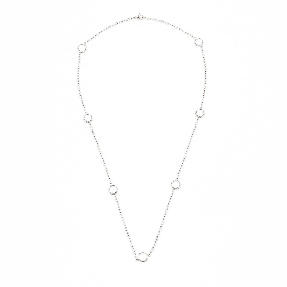 Zirconia in Rolo Chain Necklace