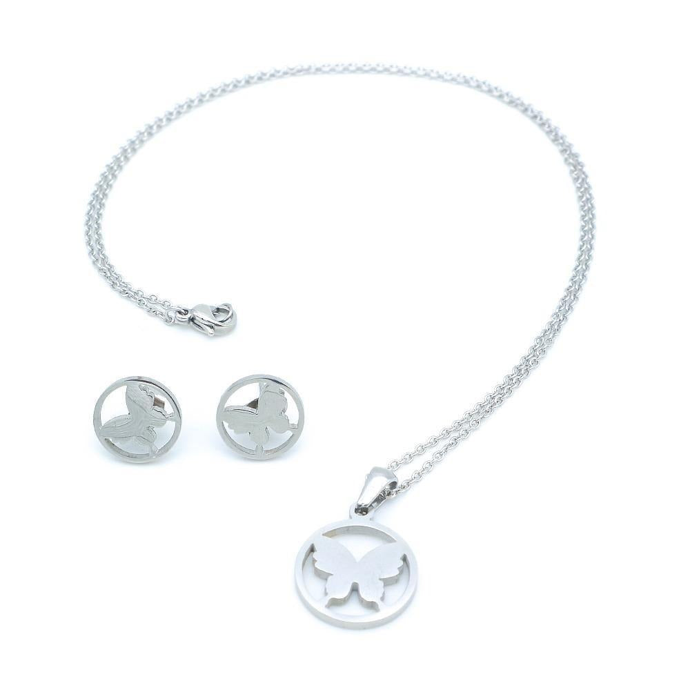 Butterfly in Halo Necklace and Earrings Set