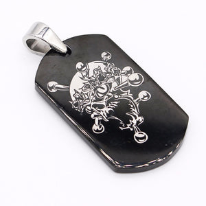 "Black Dogtag with Design w/ 24"" Ballschain Necklace"