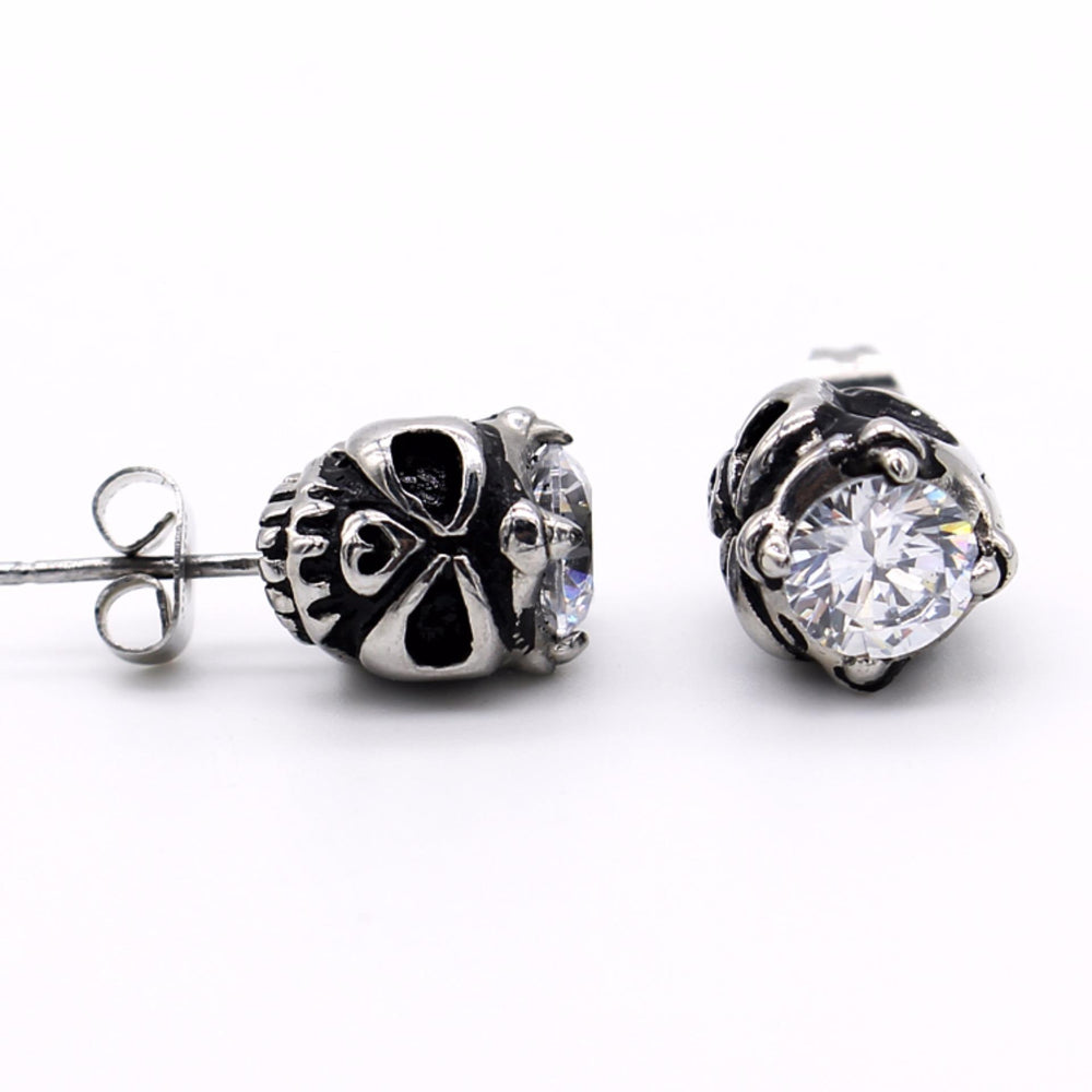 X960 Skull Design Stud Earrings with Cubic Zirconia on Top - Halloween Collection
