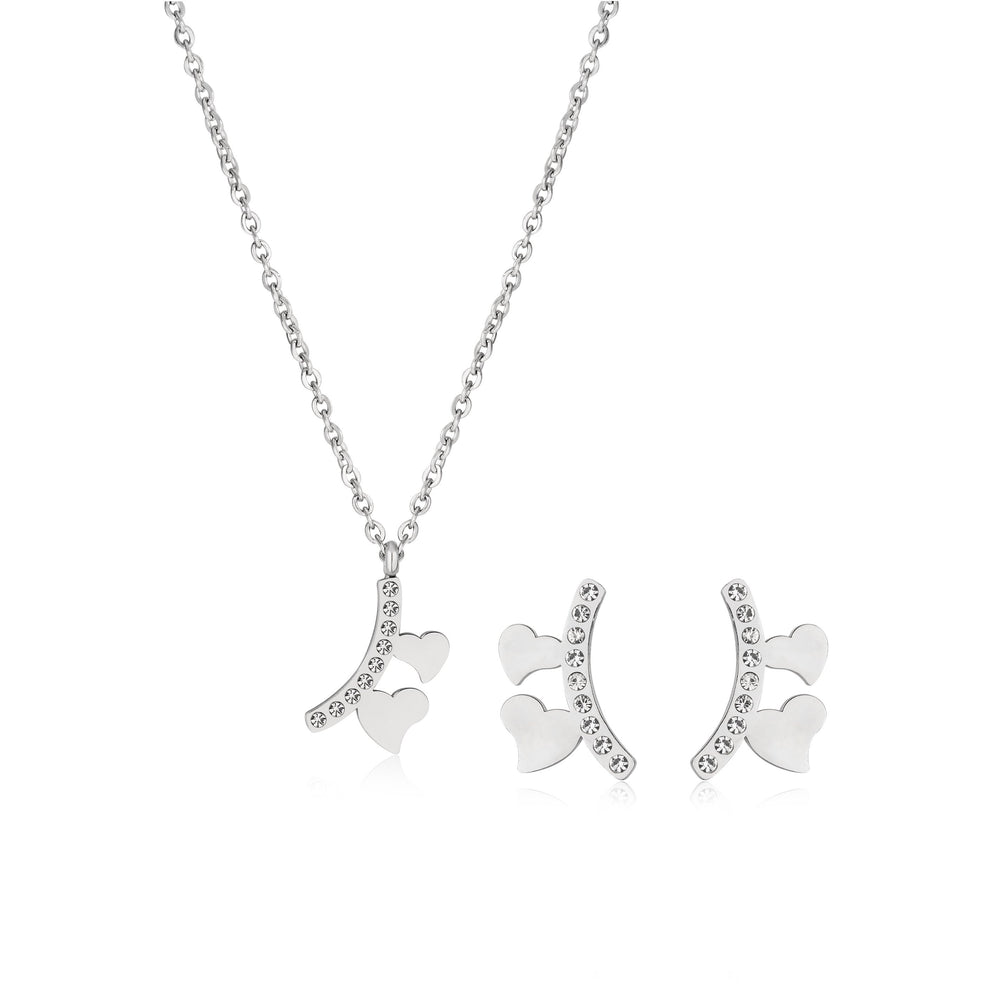 Silverworks X3471 Heart Necklace and Earrings Sets