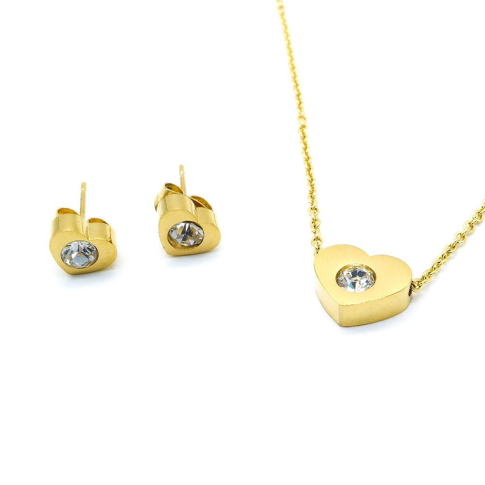 Sili Heart Design w/ Round Cubic Zirconia Earrings and Necklace Set
