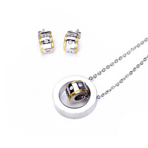 Silverworks X3291 2 Tone round in Ring Design Necklace and Earrings