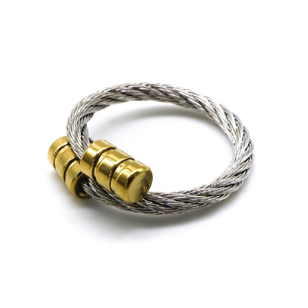 Load image into Gallery viewer, Twisted Cable Ring with Gold Plated End