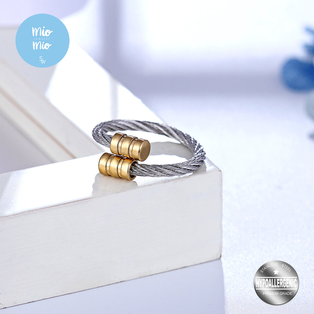 Twisted Cable Ring with Gold Plated End