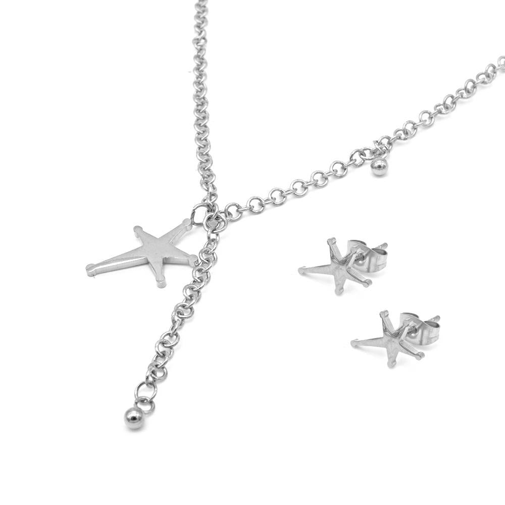 Assymetrical Star Earrings and Necklace Set