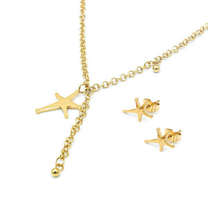 Load image into Gallery viewer, Assymetrical Star Earrings and Necklace Set