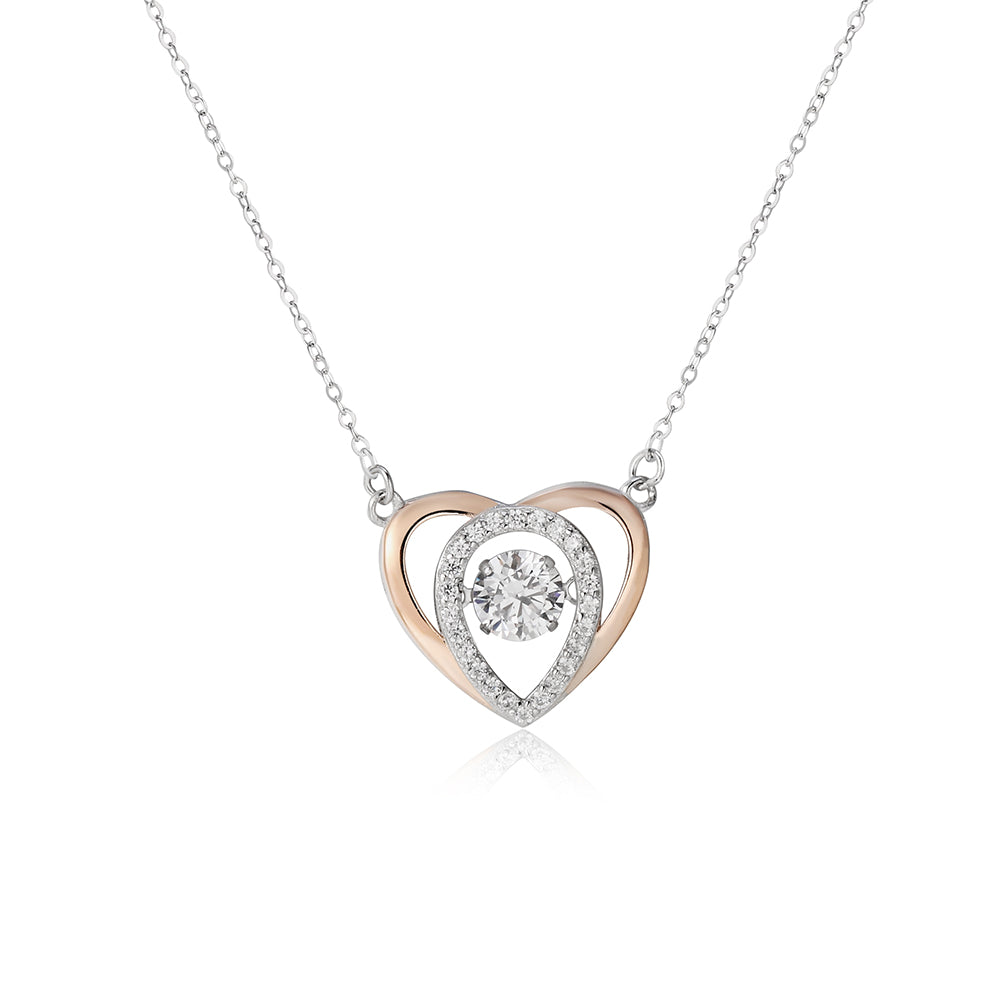 Hillary Silver Dancing Gem Heart Necklace in 18k Rose Gold