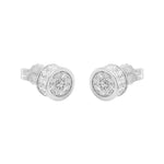 Mylo Round Silver Pavé© Stud Earrings