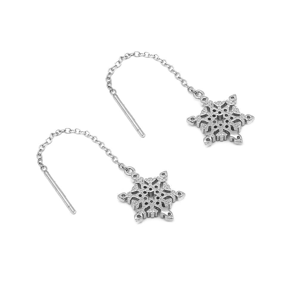 Load image into Gallery viewer, Disney® Henleigh Classic Snowflakes Threaded Earrings