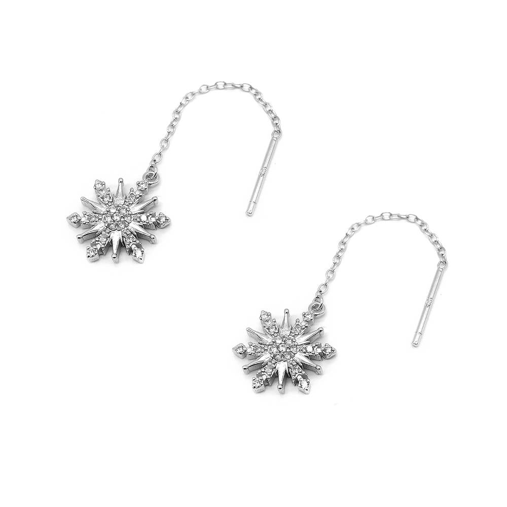 Disney® Milca Dendrites Snowflakes Silver Threaded Earrings with Zirconia Stones
