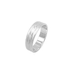 Indiana Sandblasted Band Silver Ring with Deep Engraved Design