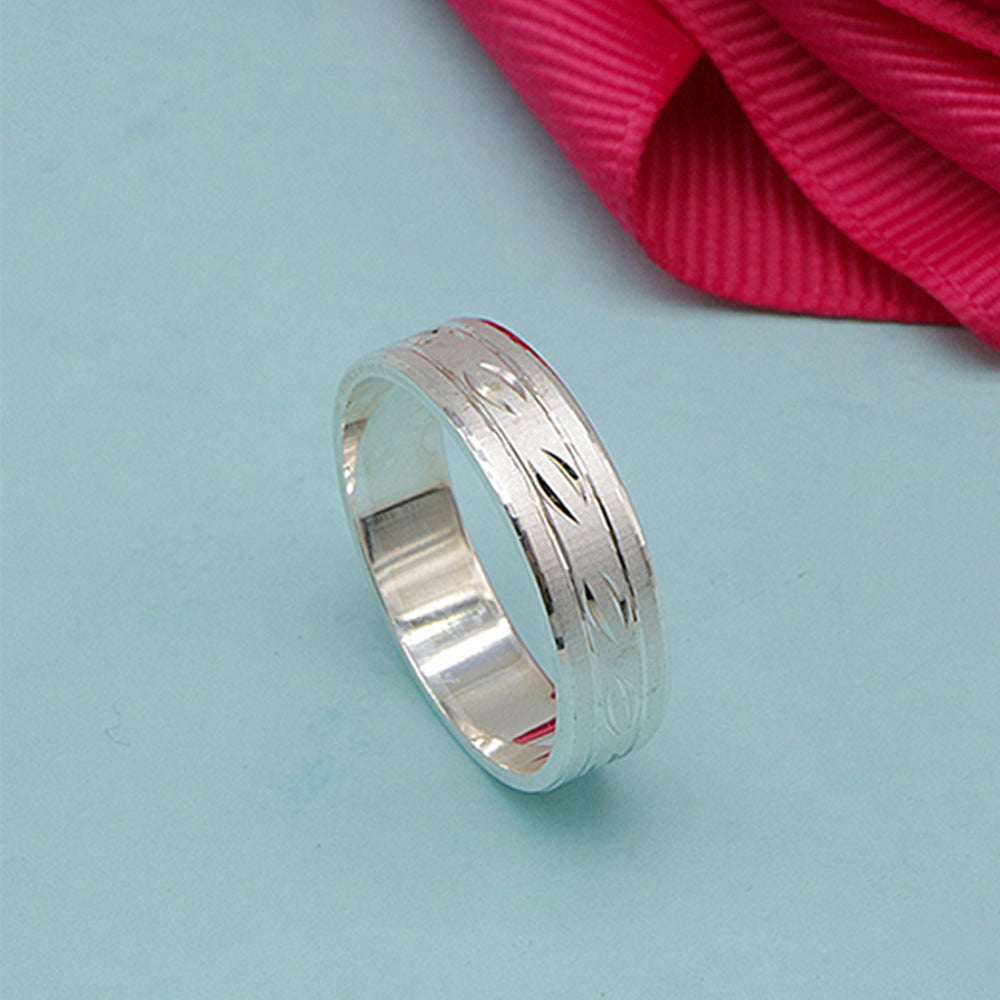 Load image into Gallery viewer, Indiana Sandblasted Band Silver Ring with Deep Engraved Design