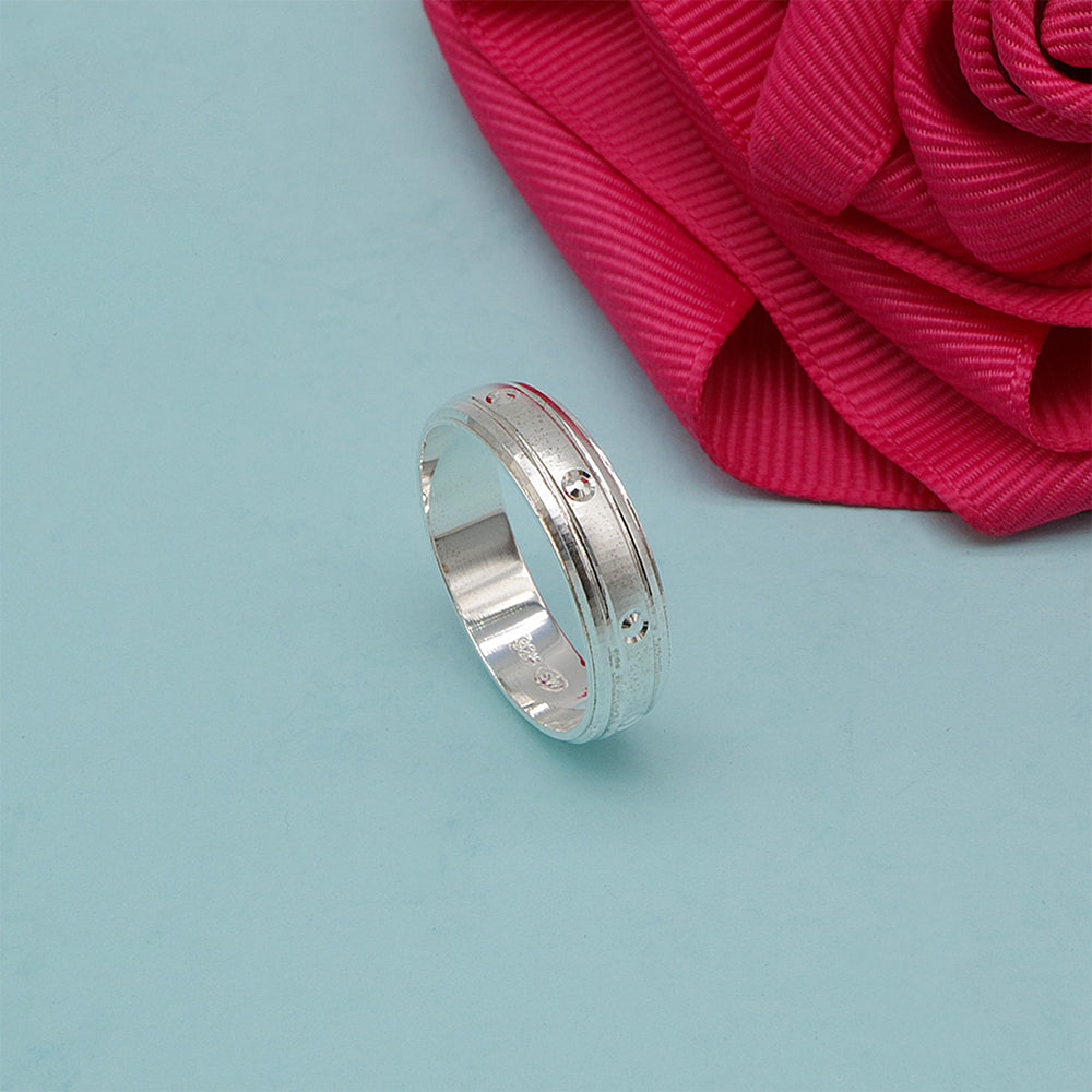 Silverworks Sandblasted Couple Band Ring with Deep Engraved Design R4519