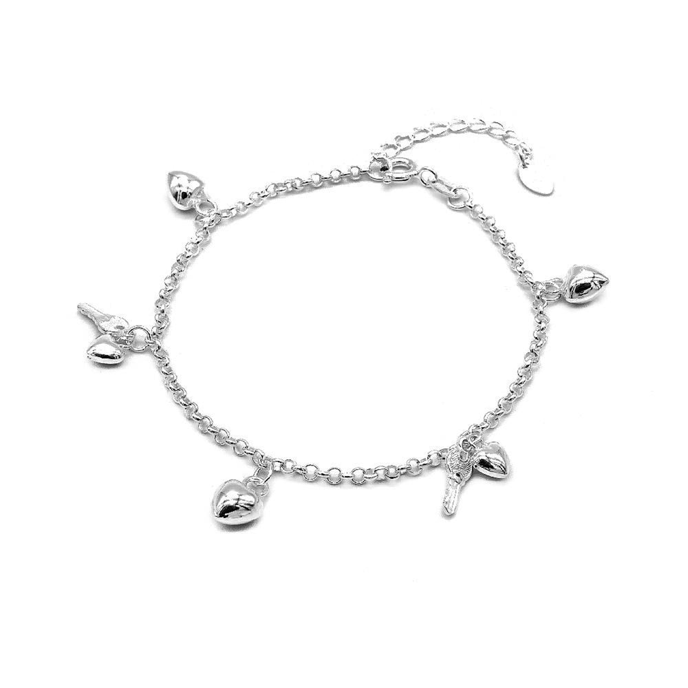 Celine Dangling Puff Heart and Key Charm Silver Bracelet