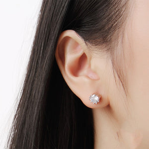 Marina Round with Prong Silver Earrings