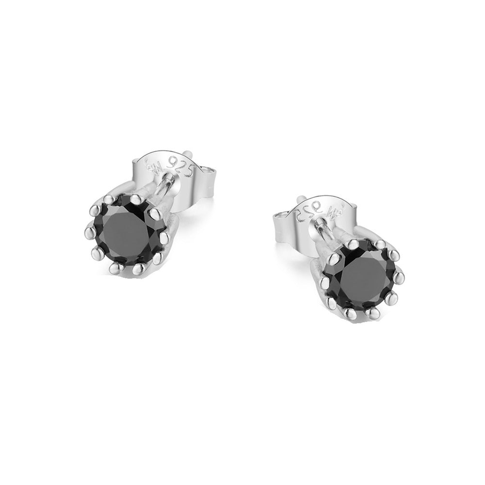 Marissa Black Onyx Round Ten Prong Silver Earrings