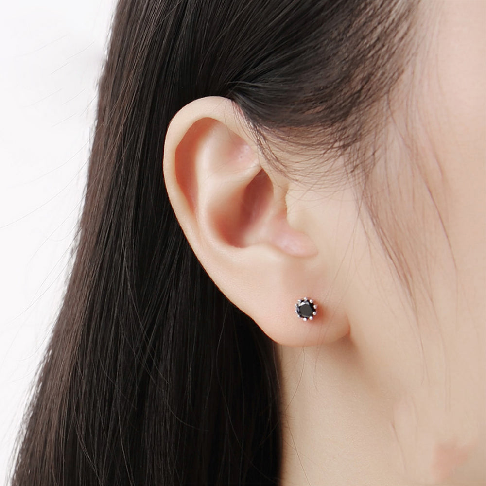 Load image into Gallery viewer, Marissa Black Onyx Round Ten Prong Silver Earrings