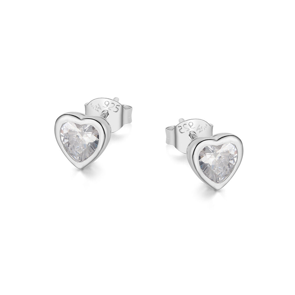 Meadow Heart Bezel Silver Earrings