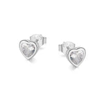 Margaux Heart Bezel Silver Earrings