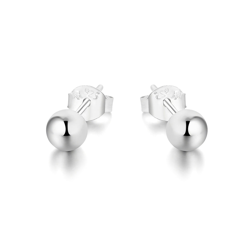 Maple Ball Stud Silver Earrings