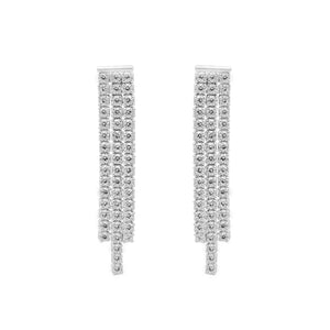 Load image into Gallery viewer, Naomi Tri-Layered Tennis Drop Silver Earrings with Zirconia Stones