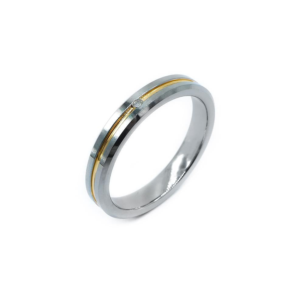 Izumi Grooved Two-Tone Tungsten Ring with Diamond