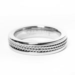 Ina Double Twisted Rope Inlay Silver Tungsten Ring