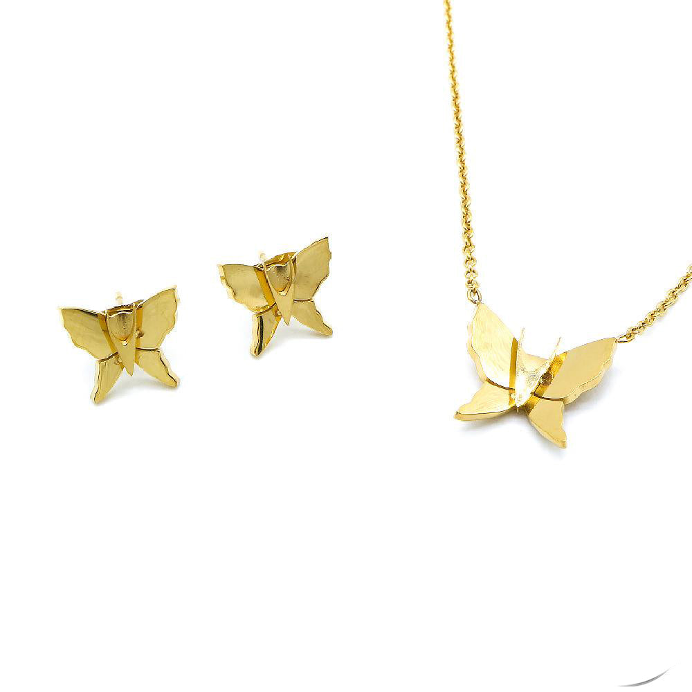 Sam Butterfly Design Earrings and Necklace Set
