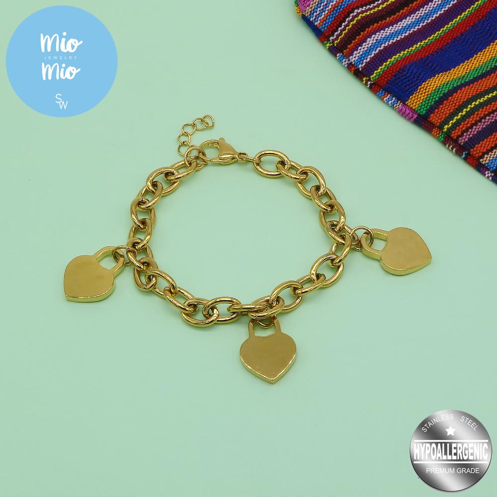 3 Flat Heart Lock in Rolo Chain Bracelet