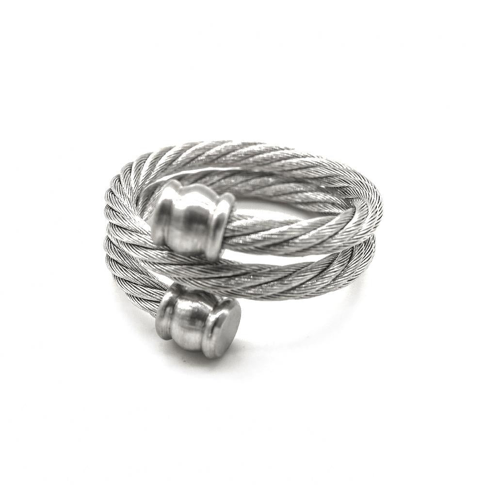 Double Twisted Cable Ring with Balls on End