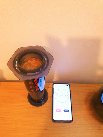 timer 1 min for coffee blooming