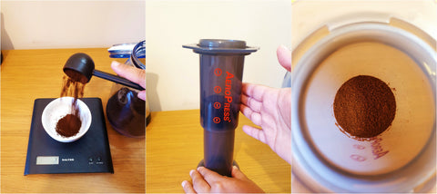 Coffee weigh and pour aeropress