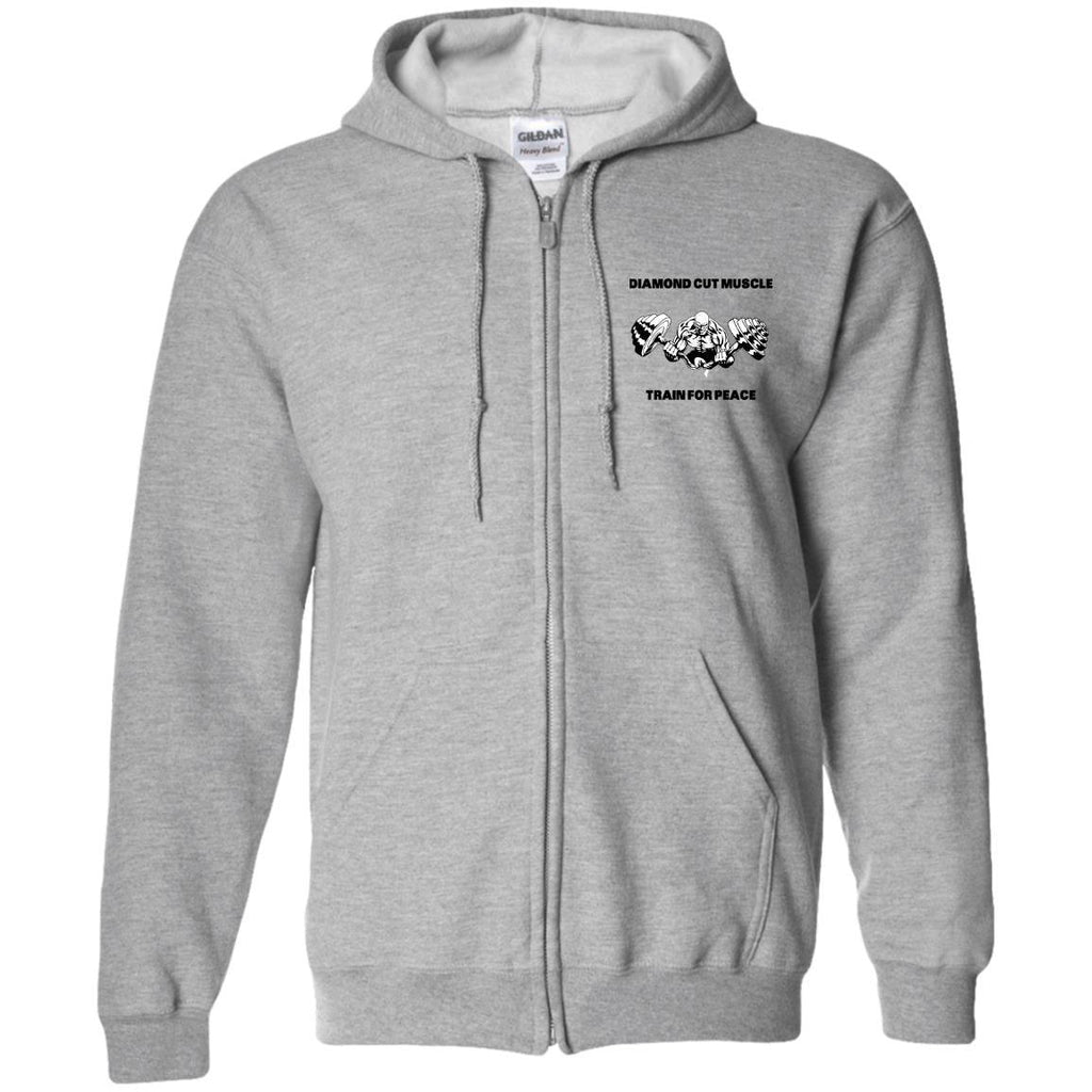 Train For Peace Zip Up Hooded Sweatshirt - Diamond Cut Muscle Apparel