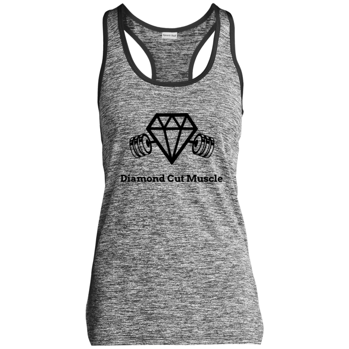 Ladies' Moisture Wicking Electric Heather Racerback Tank - Diamond Cut Muscle T-Shirts
