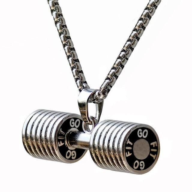 Bodybuilding Dumbbell Pendant | Crossfit Barbell Necklace | Fitness Jewelry - Diamond Cut Muscle Jewelry