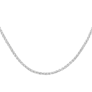 9ct White Gold Fine Spiga Chain Necklace of 20 Inch/51cm Length