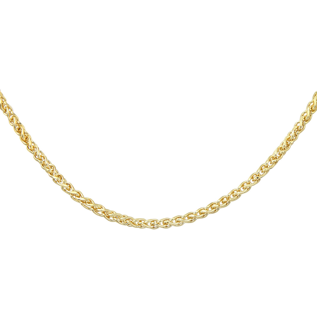 9ct Yellow Gold Fine Spiga Chain Necklace of 20 Inch/51cm Length