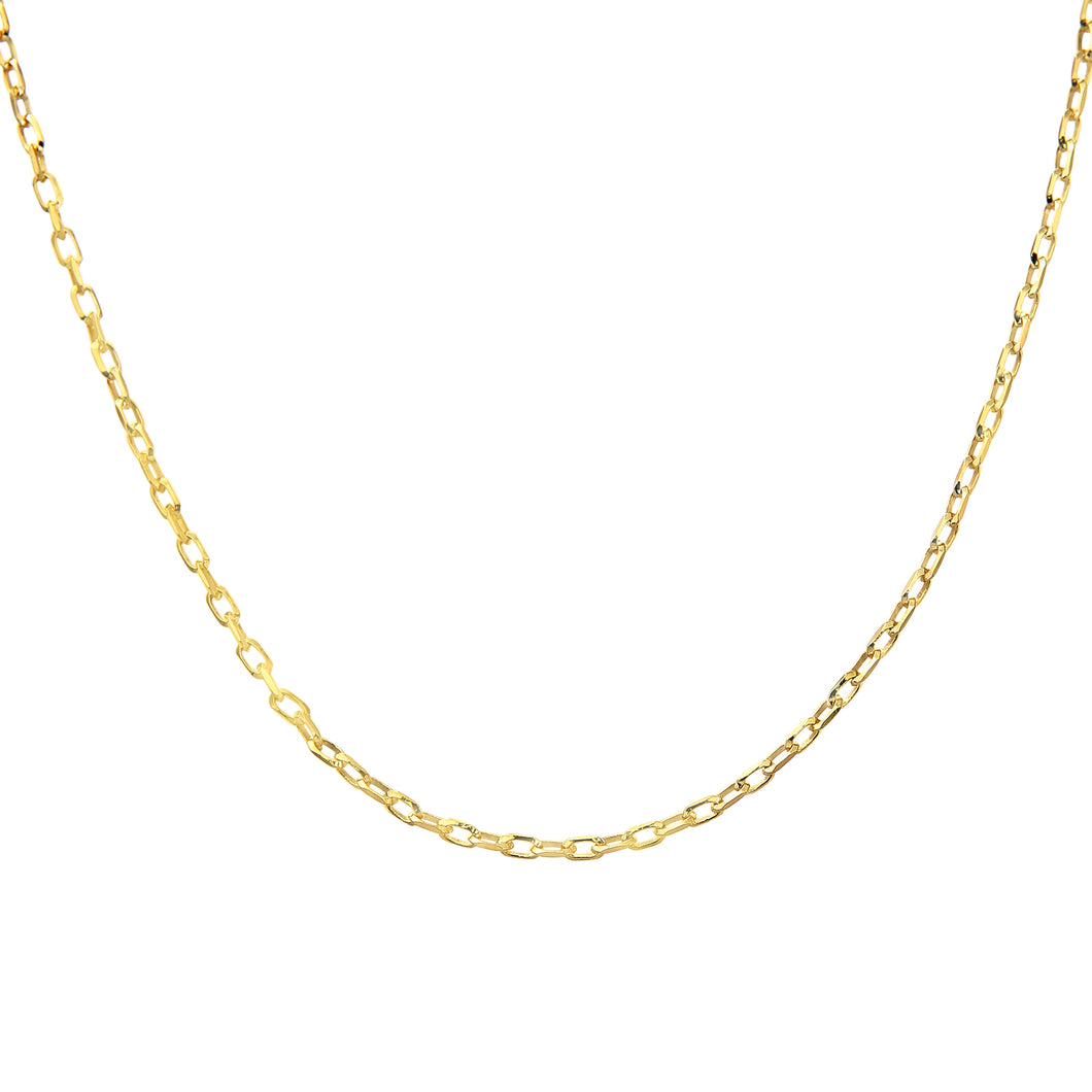 9ct Yellow Gold 2.2g Belcher Necklace of 16 Inch/41cm Length and 0.1cm Width