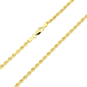 9ct Yellow Gold Rope Chain Necklace of 18 Inch/46cm Length