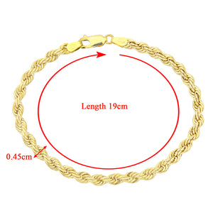 9ct Yellow Gold Thick Rope Bracelet of 7.5 Inch/19cm Length