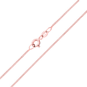 9ct Rose Gold  1.4g Curb Chain Necklace of 18 Inch/46cm Length