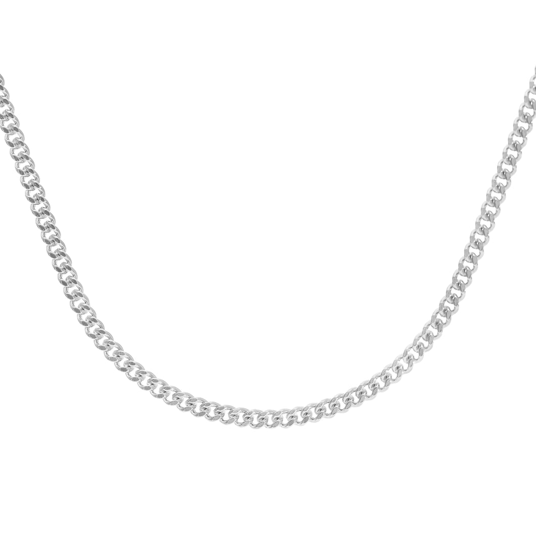 9ct White Gold  7.5g Curb Chain Necklace of 22 Inch/56cm Length