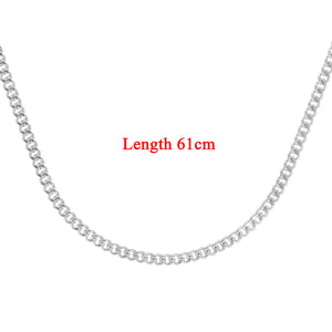 9ct White Gold  8.1g Curb Chain Necklace of 24 Inch/61cm Length