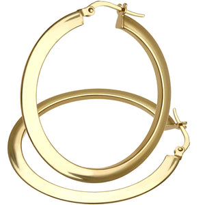 9ct Yellow Gold Ultra Slim Flat Hoop Earrings of 35mm Diameter