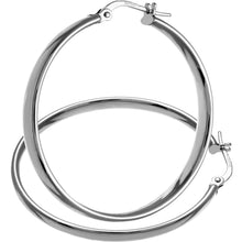 Load image into Gallery viewer, 9ct White Gold Dome Tube Fine Hoop Earrings of 30mm Diameter
