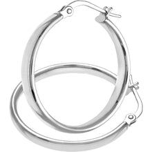 Load image into Gallery viewer, 9ct White Gold Dome Tube Fine Hoop Earrings of 20mm Diameter