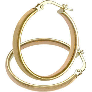 9ct Yellow Gold Dome Tube Fine Hoop Earrings of 20mm Diameter